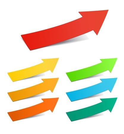 yellow ribbon: Color arrows sticker set, vector illustration