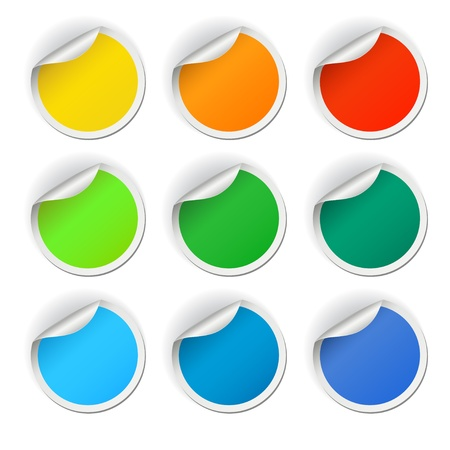 Colorful round stickers set, vector illustration Vector