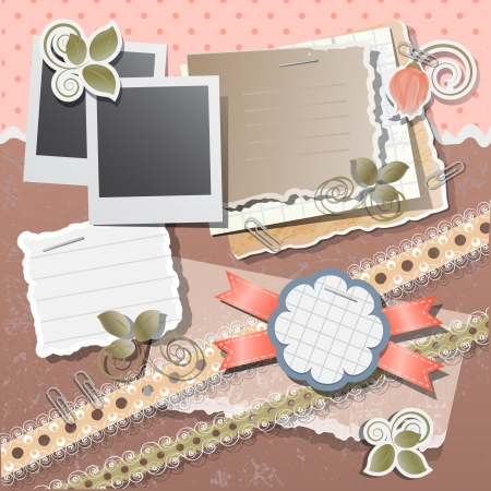 Scrapbook background with polaroid  in retro stile, vector illustration Illustration