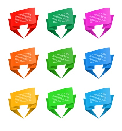 Set of origami paper banners, vector illustration Stock Vector - 17777160