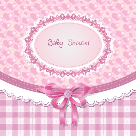 girls with bows: Baby shower for girl, pink pastel tones Illustration