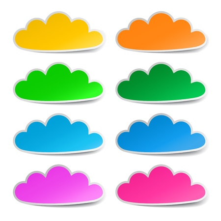 Cloud colorful stickers set, vector Stock Vector - 18299975