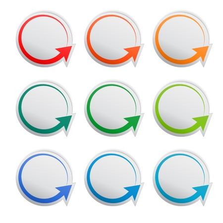 Round paper stickers with arrows, vector Stock Vector - 18299990