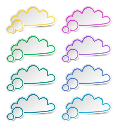 Cloud paper stickers set, vector Stock Vector - 18299976