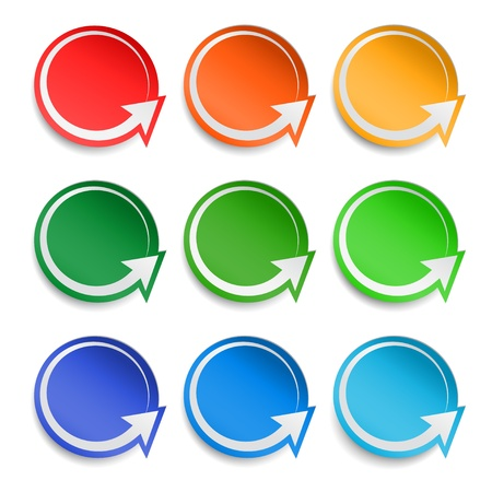 Round paper stickers set with arrows, vector