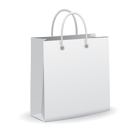 White empty paper shopping bag, vector