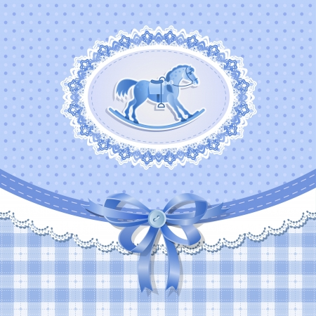 Baby shower with horse for boy , vector Vector