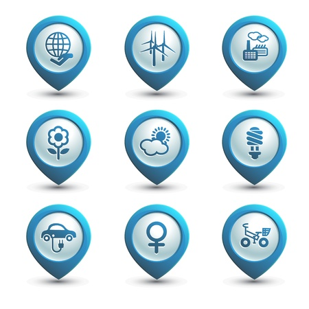 responsibilities: Set of ecology icons on the white background