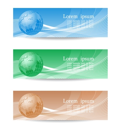Set of abstract  headers with globe