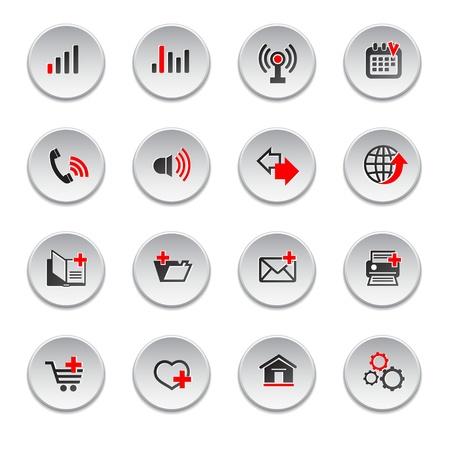 Internet web icons set, round shape