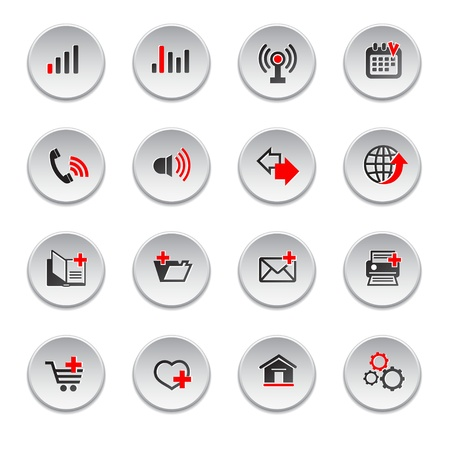 Internet web icons set, round shape  Vector
