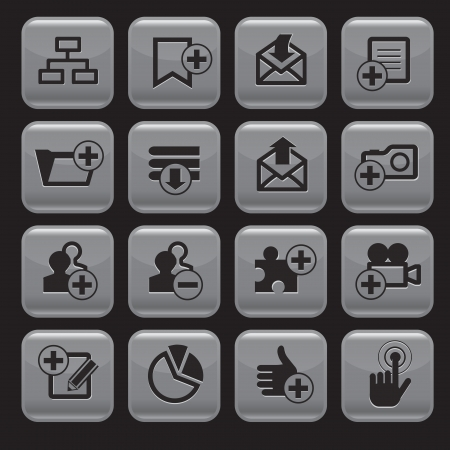 Internet web icons set, square shape Vector