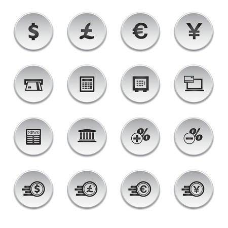 Financial and money icon set, round shape Vector