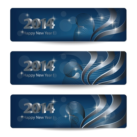 2014 New Year banners vectoriales, encabezados