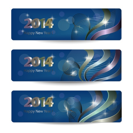 vector banners or headers: 2014 New Year vector banners, headers