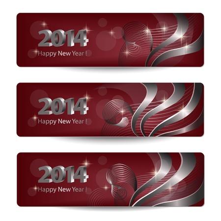 burgundy ribbon: 2014 Capodanno vettore banner, intestazioni