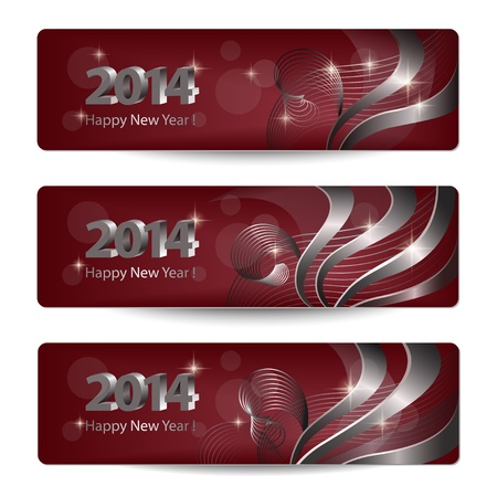 burgundy ribbon: 2014 New Year vector banners, headers