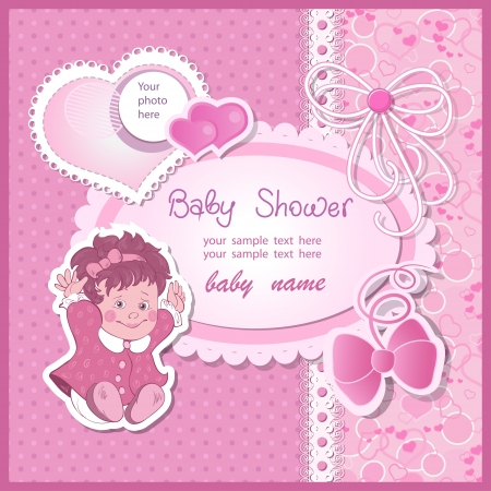 album greetings: Baby shower for girl with toy and bows