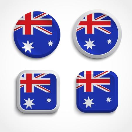 australia flag: Australia flag buttons, illustration