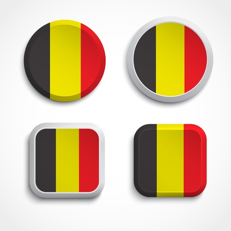 belgium flag: Set of Belgium flag buttons, illustration