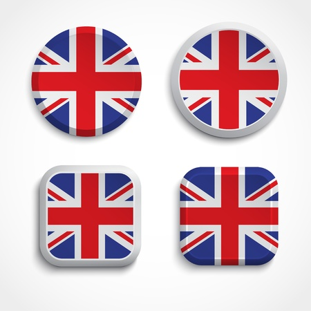 Great Britain flag buttons, illustration Vector