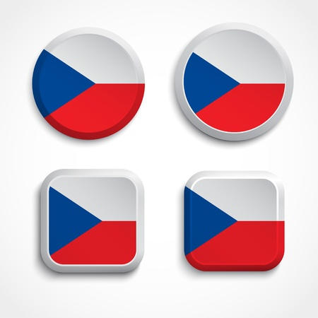 flagging: Czech flag buttons, illustration