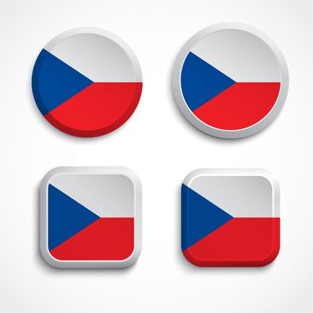czech flag: Repubblica di bandiera pulsanti, illustrazione