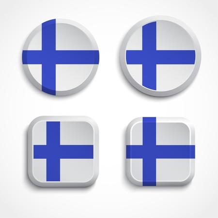 bandera de finlandia: Finlandia botones de la bandera, ilustraci�n