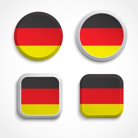 bandera alemania: Alemania botones de la bandera, ilustraci�n Vectores