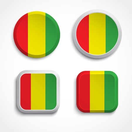 flagging: Guinea flag buttons, illustration Illustration