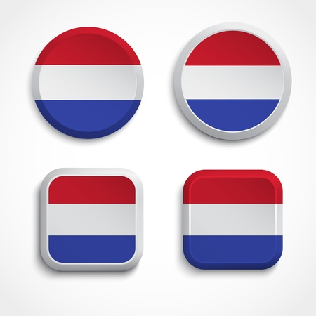 drapeau hollande: Boutons de drapeau Hollande, illustration Illustration