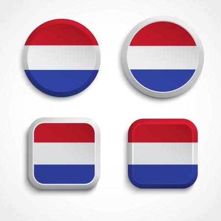 holanda bandera: Holland botones de la bandera, ilustraci�n