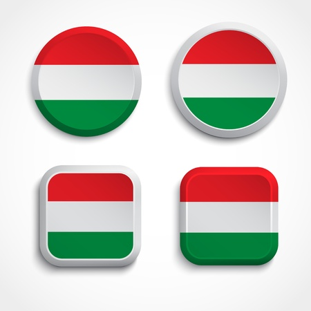 Hungary flag buttons, illustration Vector