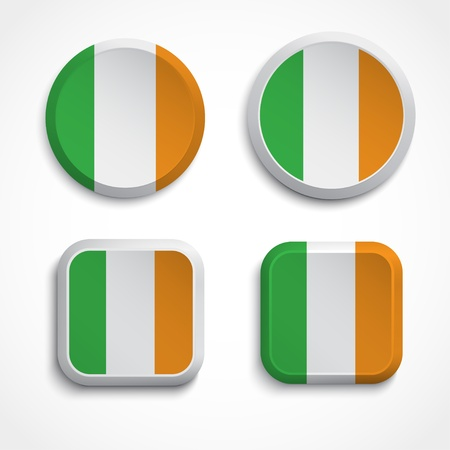 Ireland flag buttons, illustration Vector
