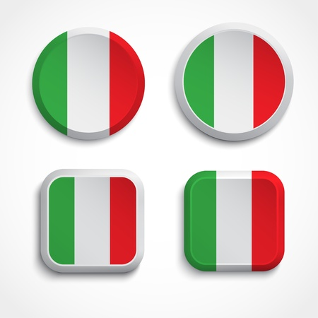 Italy flag buttons, illustration Vector