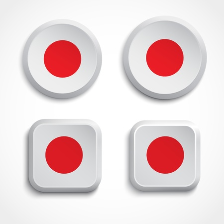 Japan flag buttons Stock Vector - 20285850
