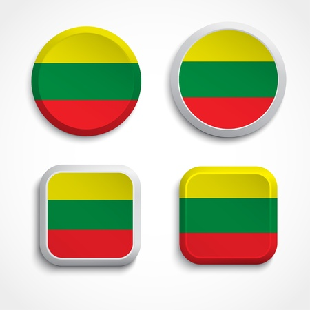 Lithuania flag buttons, illustration Vector