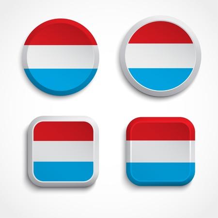 Luxemburg flag buttons, illustration Vector