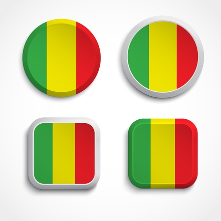 Mali flag buttons, illustration Stock Vector - 20285903