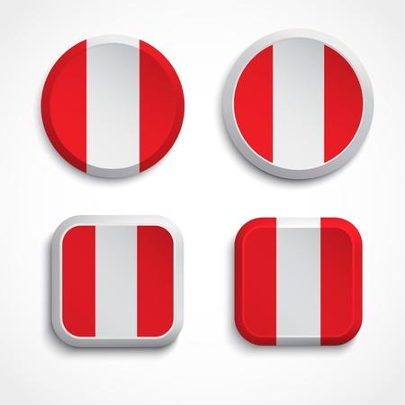 republic of peru: Peru flag buttons, illustration