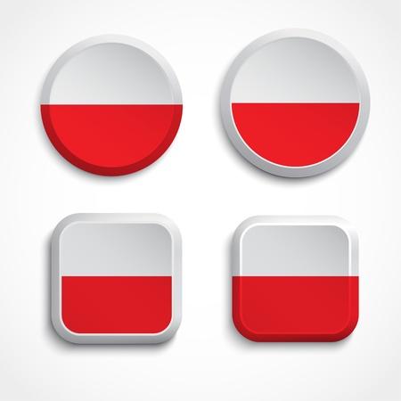 polish flag: Poland flag buttons, illustration
