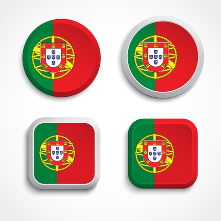 Portugal flag buttons, illustration Vector