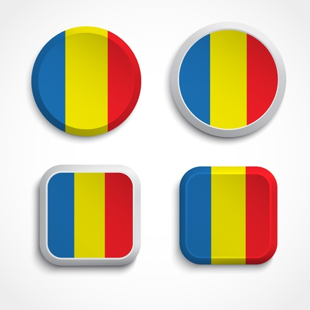 Romania flag buttons, illustration Vector