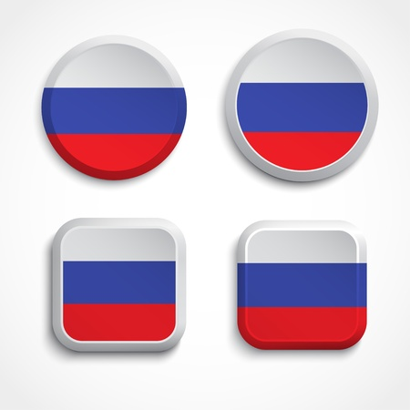 russia flag: Russia flag buttons, illustration