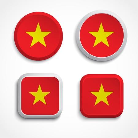 vietnam flag: Vietnam flag buttons, illustration