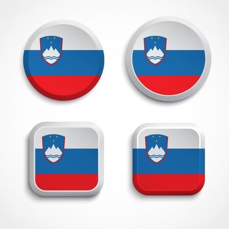 Slovenia flag buttons, illustration Vector