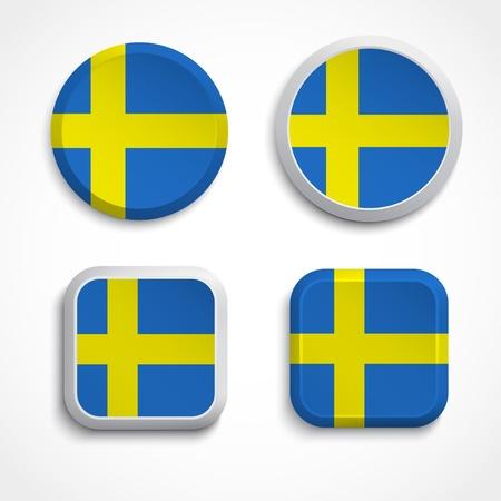 sweden flag: Pulsanti di bandiera di Svezia, illustrazione