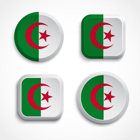 algerian flag: Algeria flag buttons, vector illustration