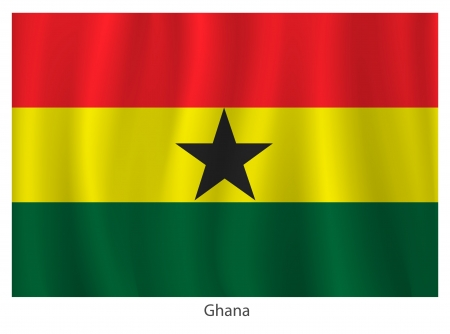 flagging: Ghana flag with title on the white background Illustration