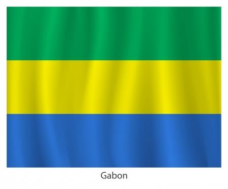 gabon: Gabon flag with title on the white background Illustration
